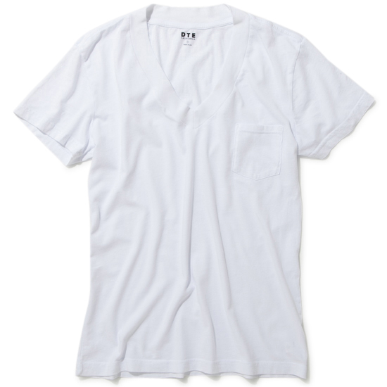 WIDE RIB VNECK/WHITE