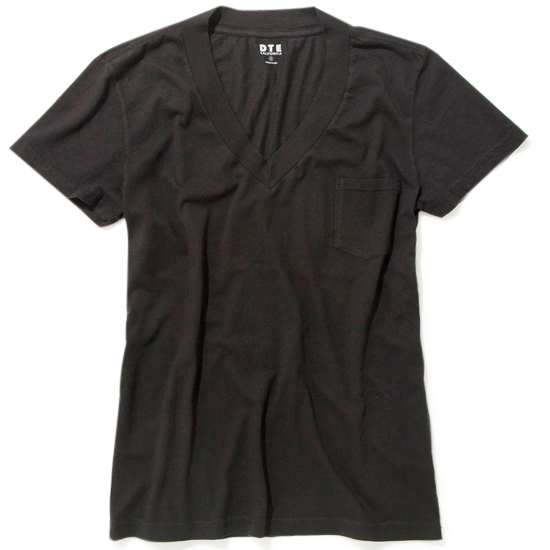 WIDE RIB VNECK/BLACK
