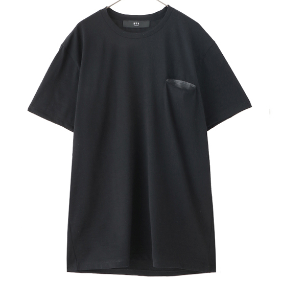 Wool T-Shirts W/Contrast Slash Chest Pocket/BLACK